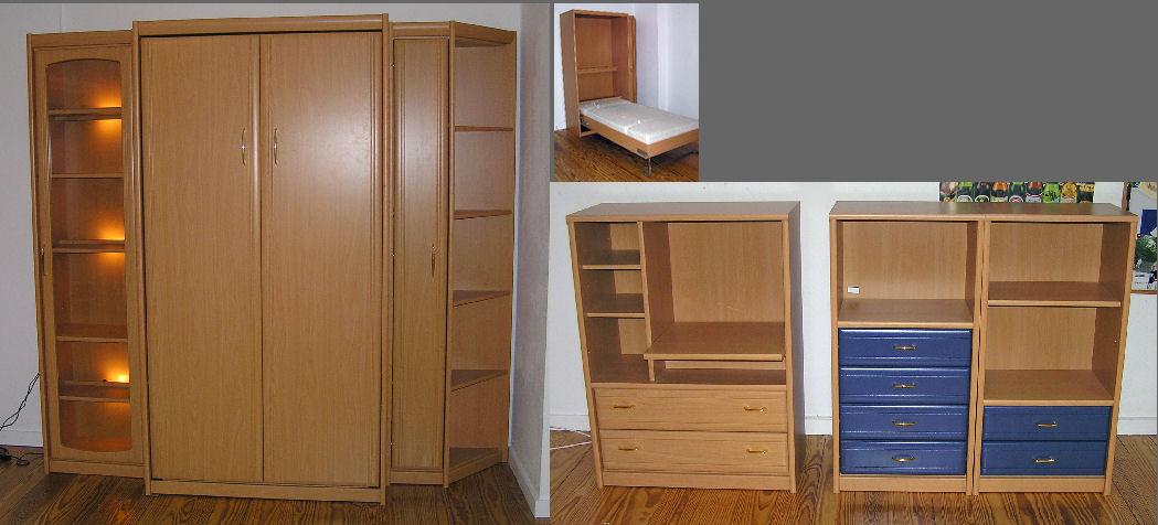 jugendzimmer buche wohnwand mit schrankbett vitrine regal sideboards matratze hh ebay. Black Bedroom Furniture Sets. Home Design Ideas