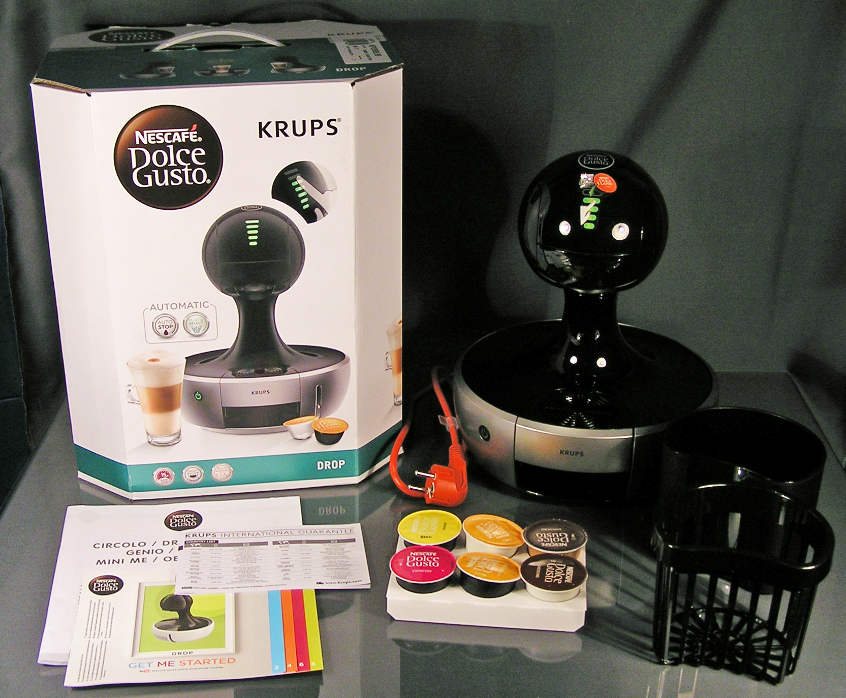 krups drop automatic schwarz silb kp350b nescaf dolce. Black Bedroom Furniture Sets. Home Design Ideas