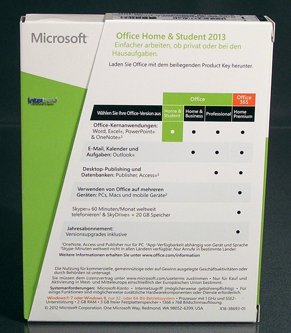 microsoft office home student 2013 vollversion box 32 64