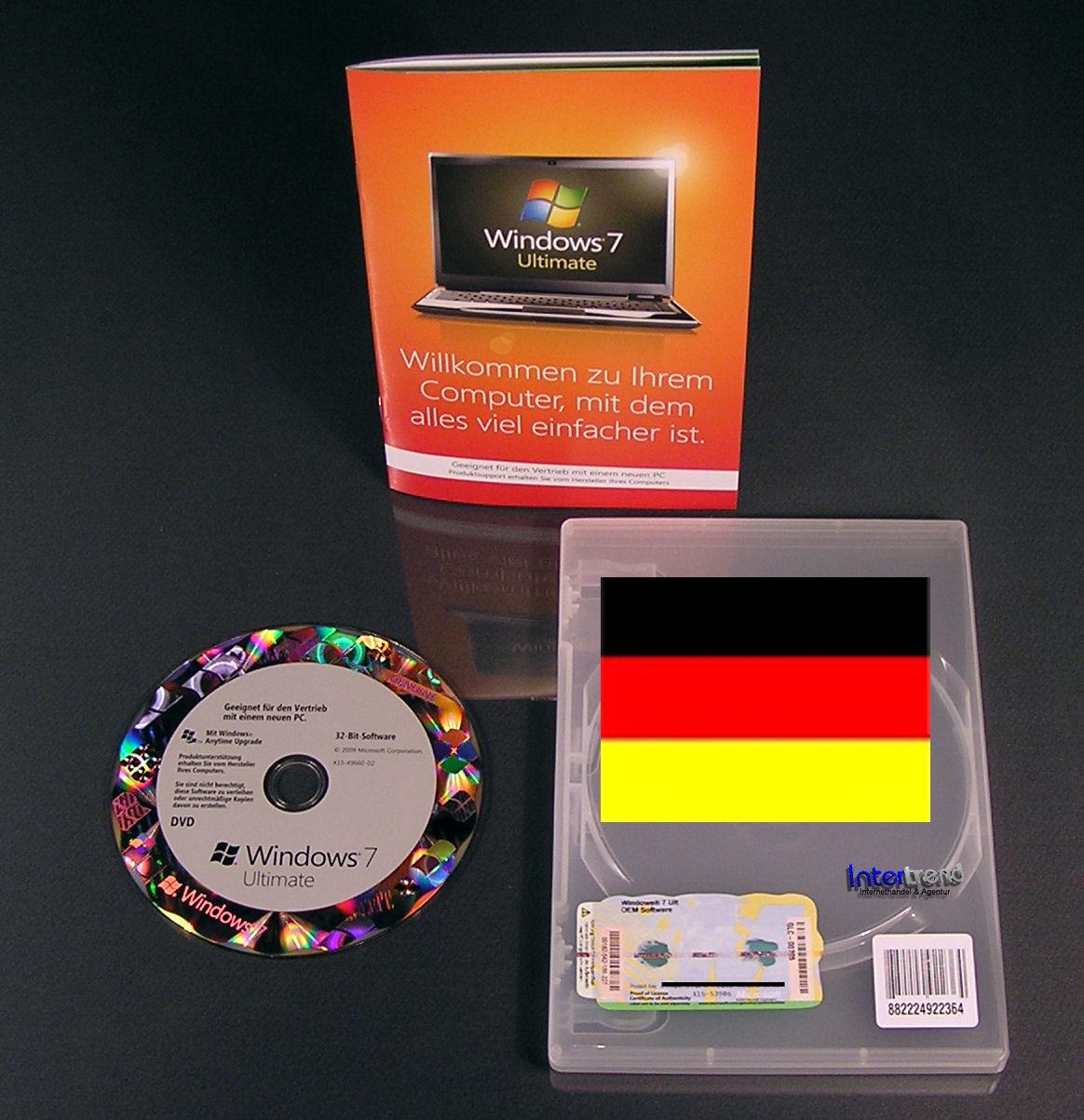 Microsoft Windows 7 Ultimate 32 Bit Vollversion SB SP1 Deutsch OVP Neu