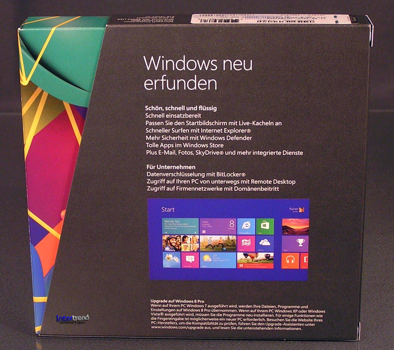 Microsoft Windows 8 Pro Upgrade Box mit DVD 32/64-Bit von XP,Vista,7 ...