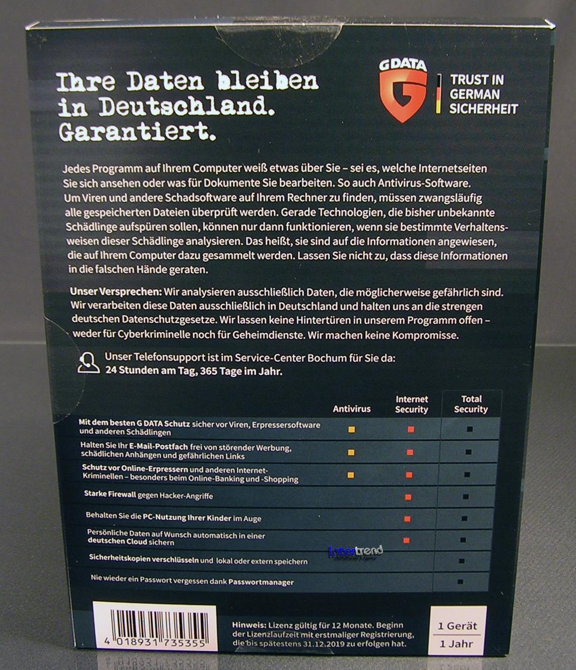 G Data Total Security 2019 Vollversion 1 PC Box + DVD, Handbuch