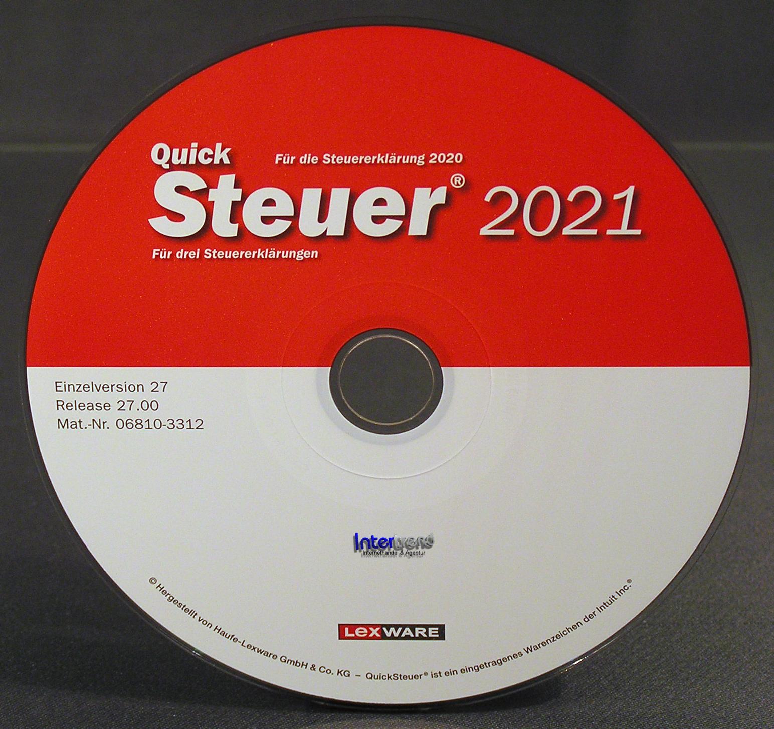 Lexware QuickSteuer 2021 Vollversion Box, CD, Handbuch ...