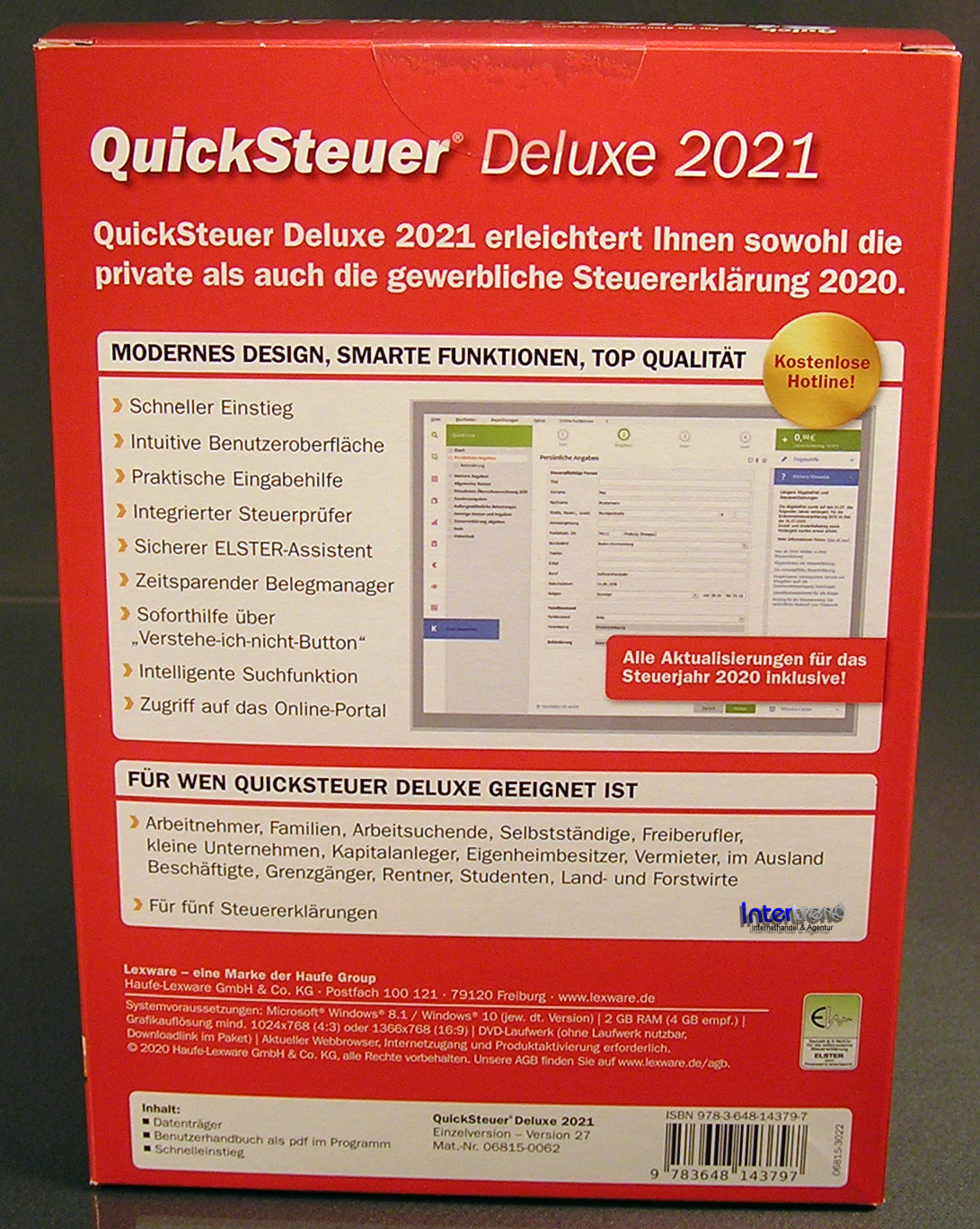 Lexware QuickSteuer Deluxe 2021 Vollversion Box CD ...