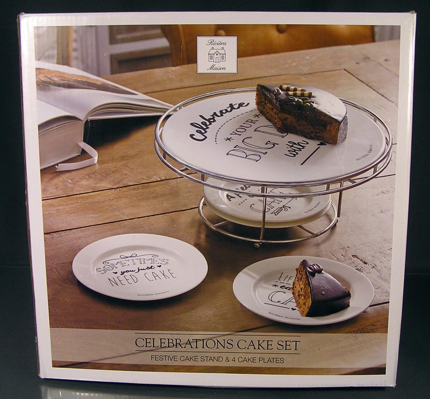 riviera maison celebrations cake set porzellan tortenplatte 4 teller ovp neu ebay. Black Bedroom Furniture Sets. Home Design Ideas